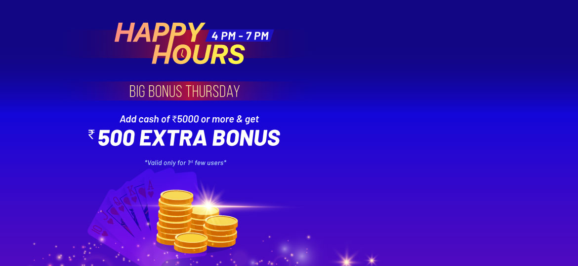 Thursday happy hours for online rummy players