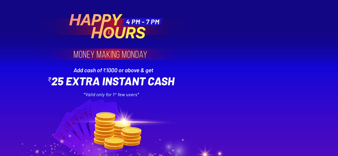 Monday happy hour for online rummy players