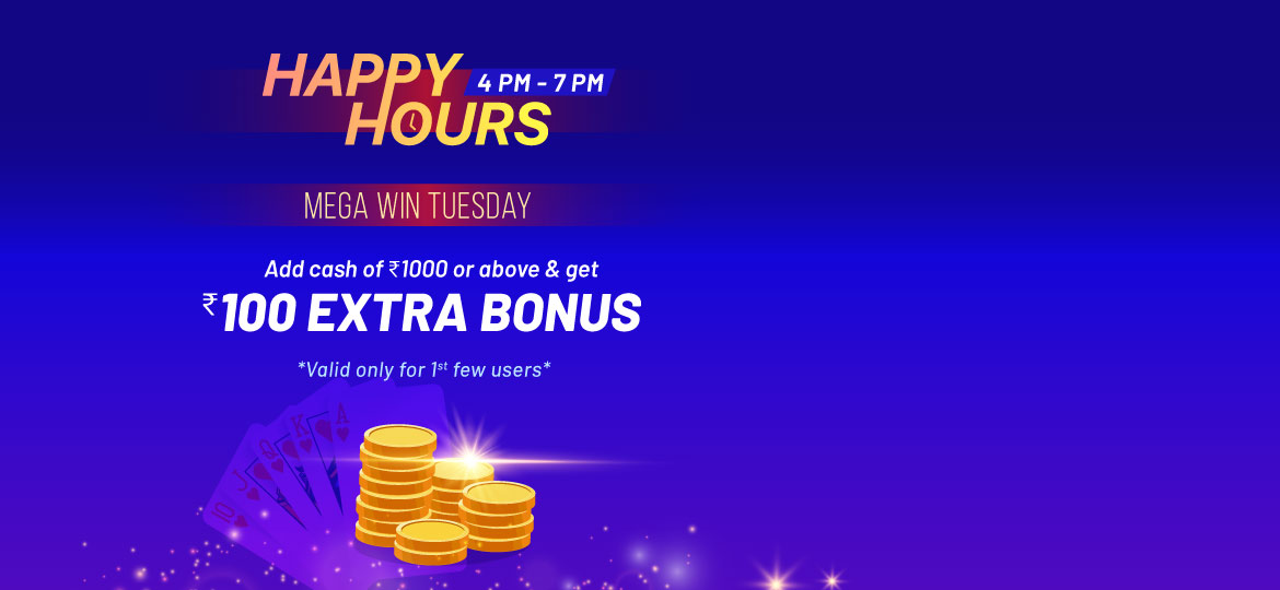 Tuesday happy hour for online rummy players